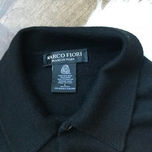 Marco Fiori Sweaters - Marco Fiori black wool polo style long sweater